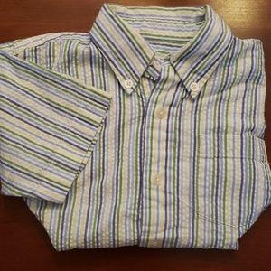 Talbot Kids Seersucker Striped Button Down 5 EUC